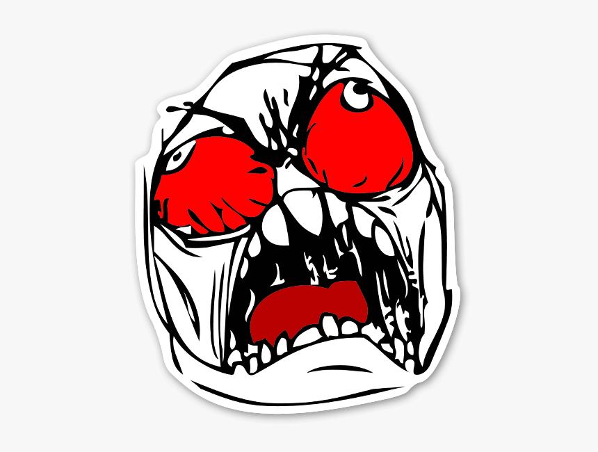 Memes Colorful Rage Face Sticker - Rage Png Memes Faces, Transparent Png, Free Download