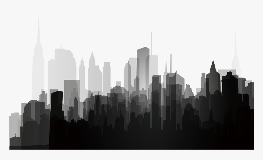 And City Silhouette Splash Black White Clipart - City Silhouette Png, Transparent Png, Free Download