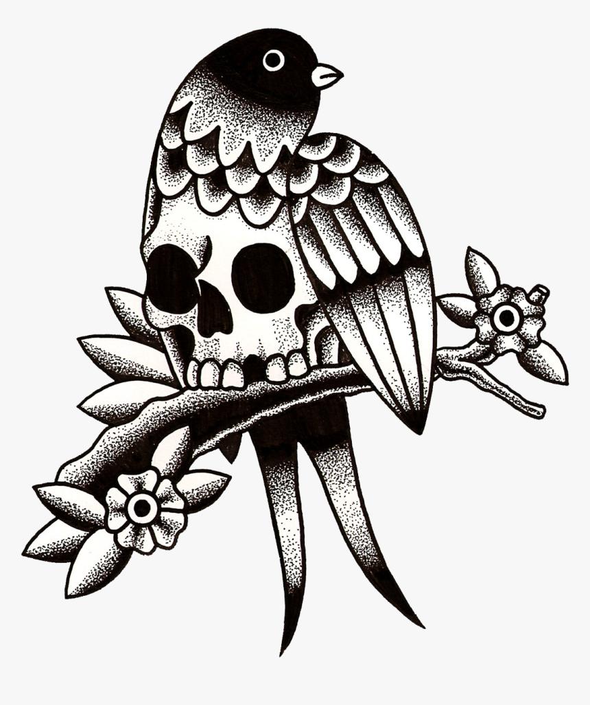 Old School Flash Swallow Tattoo Tattoo Artist - Tattoo Old School Drawing, HD Png Download, Free Download