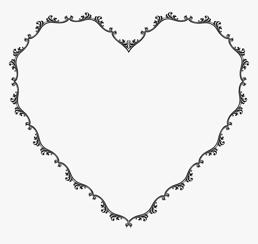 Transparent Decorative Frames Png - Floral Heart Border Black And White, Png Download, Free Download