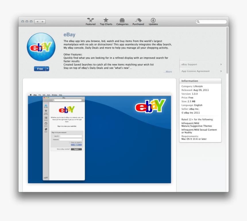 Ebay In Mac App Store App Store Ebay Hd Png Download Kindpng