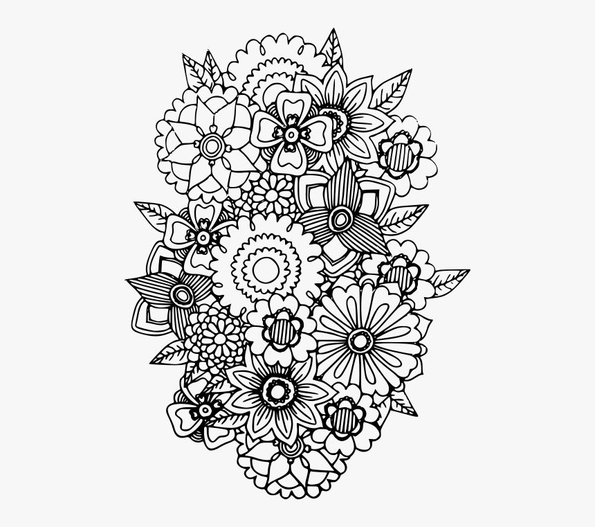 Adult Colouring Book Flowers, HD Png Download - Kindpng