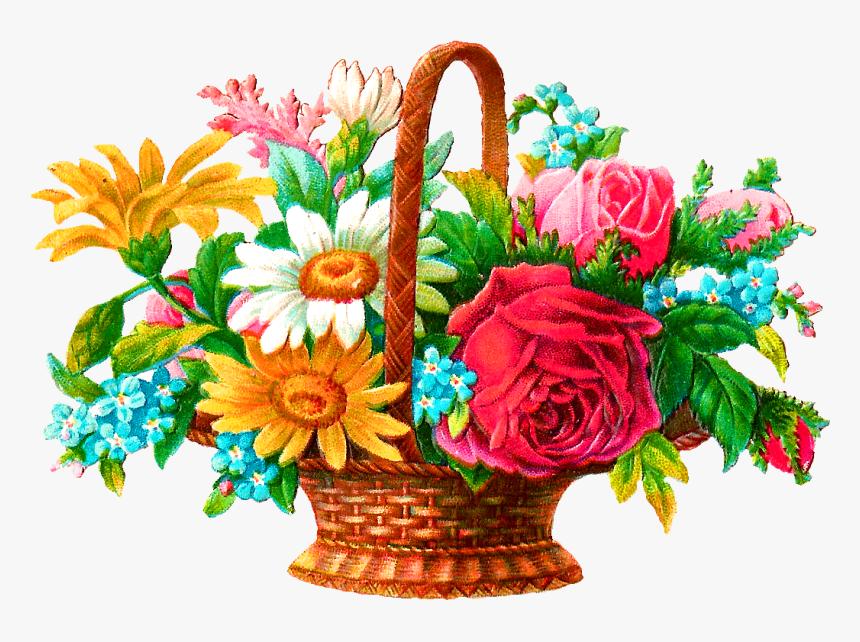 Wildflower Basket Illustration - Basket Flowers Images Png, Transparent Png, Free Download