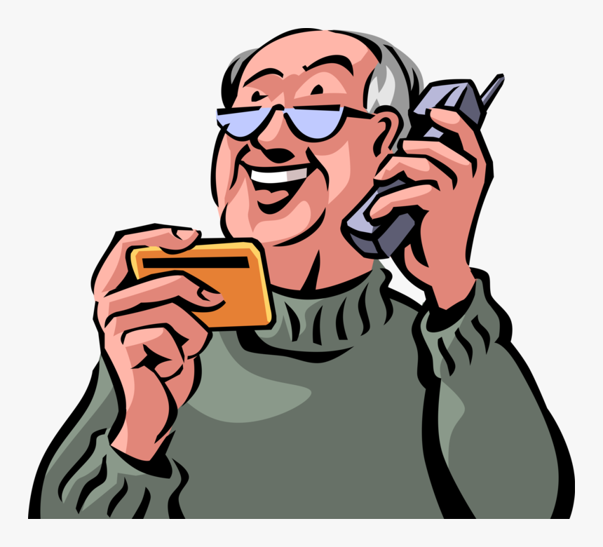Transparent Senior Citizen Clipart - Old Man Talking On Phone Clipart, HD Png Download, Free Download