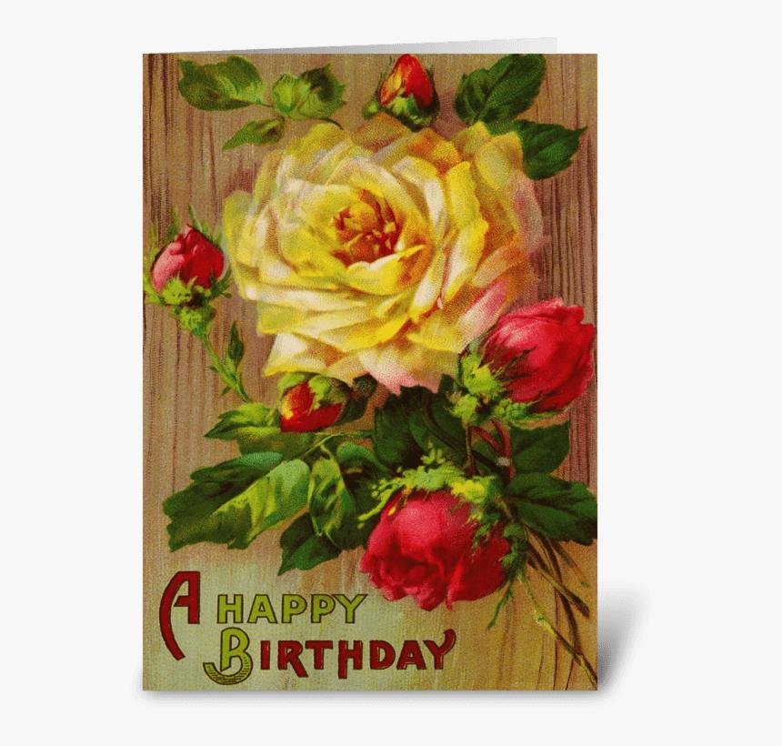 Vintage Rose Greeting Card - Flower Rose Birthday Cards, HD Png Download, Free Download