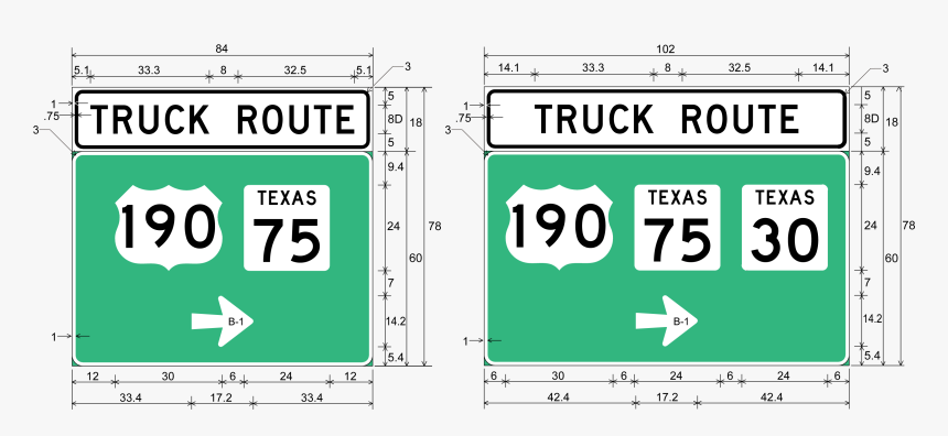 Large Advanced Truck Route Sign Assembly sign Details - Sign, HD Png Download, Free Download