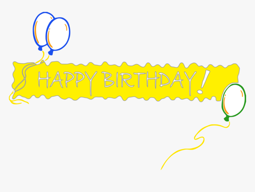 Happy Birthday Banner Png Pic - Happy Birthday In One Line, Transparent Png, Free Download