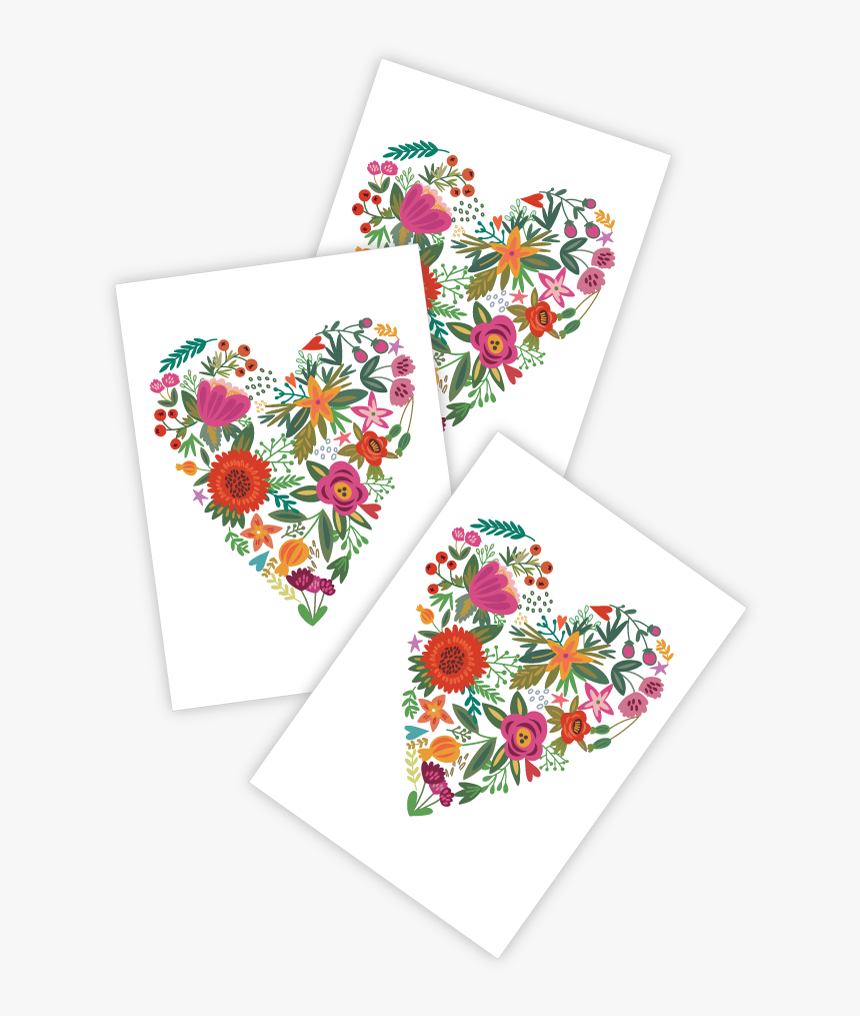 High Quality Temporary Tattoos «fower Heart» With Heart - Heart Flower Tattoo, HD Png Download, Free Download
