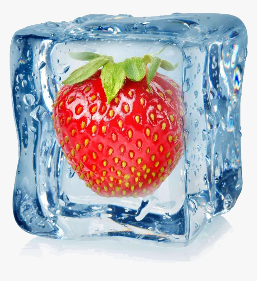 Transparent Strawberry Pie Clipart - Frozen Strawberry In Ice Cube, HD Png Download, Free Download
