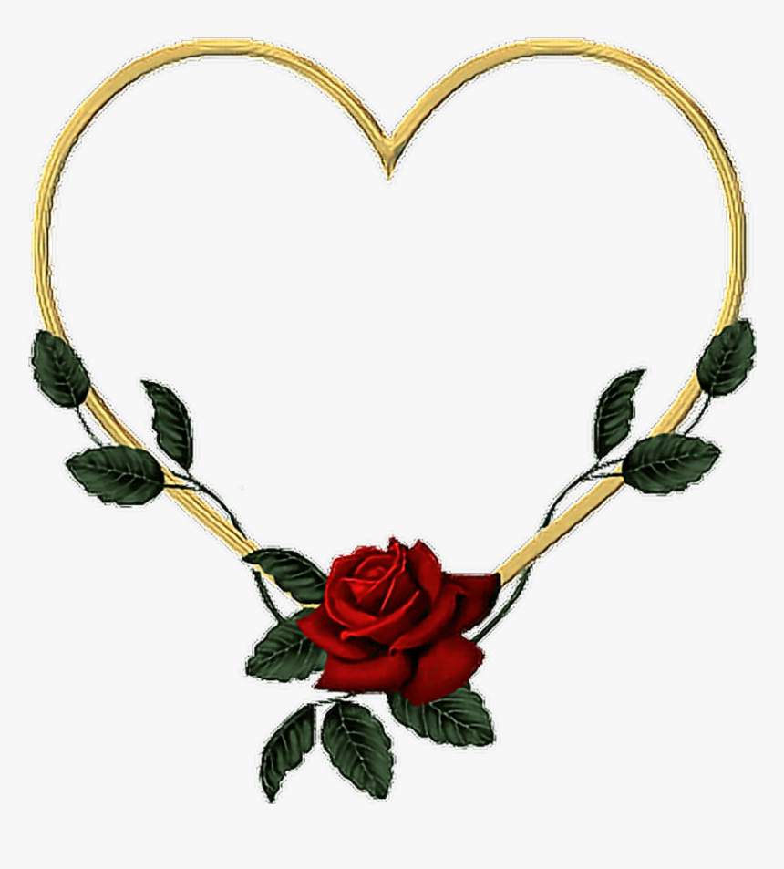 #goldheart #gold #heart #rose #vines #leaves #flower - Heart Of Roses Frame, HD Png Download, Free Download
