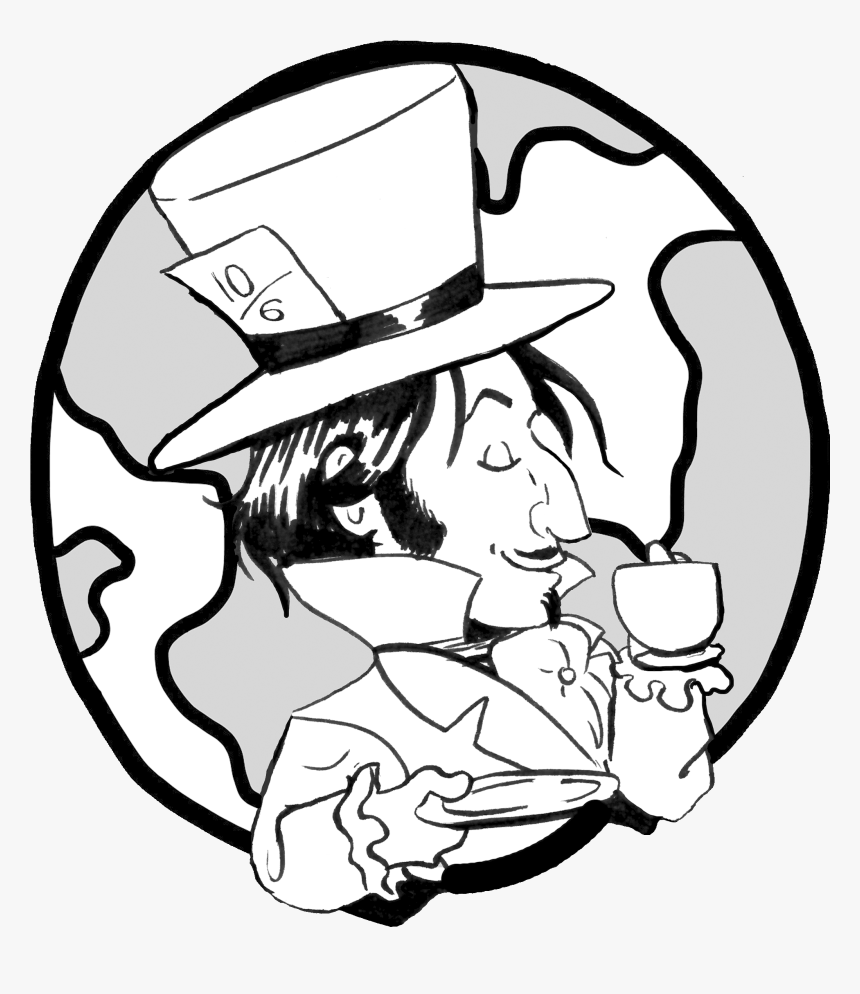 Hats Drawing Mad Hatter - Earth In Black And White, HD Png Download, Free Download
