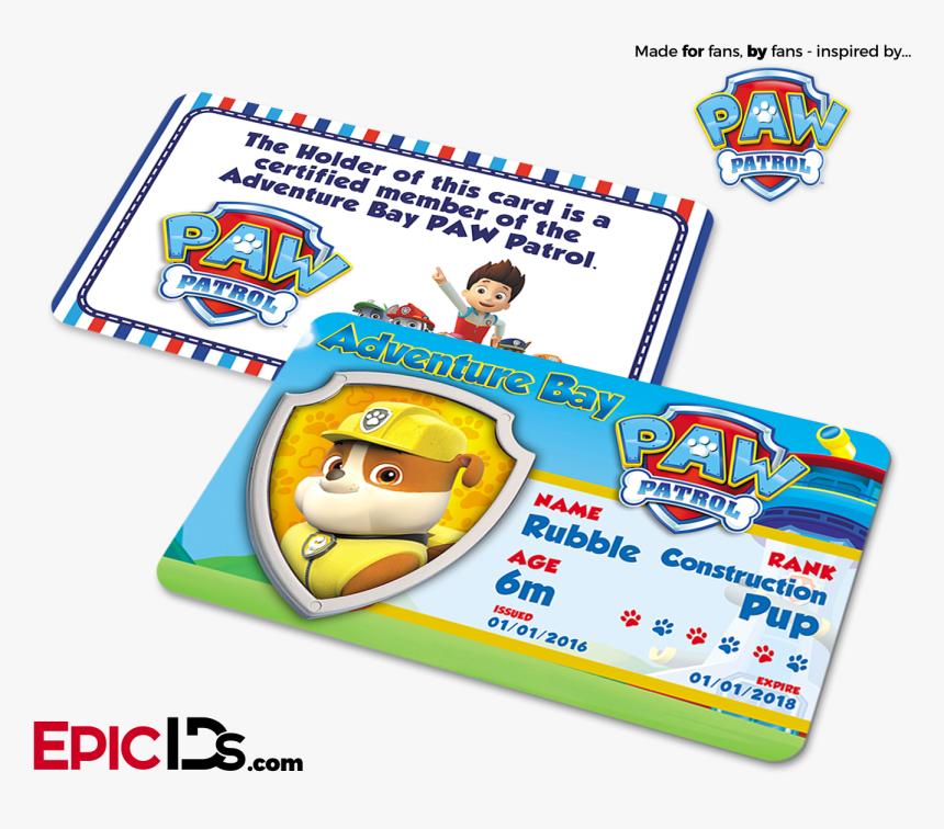 Paw Patrol Inspired Adventure Bay Paw Patrol Id Card - Paw Patrol Ryder Id, HD Png Download, Free Download
