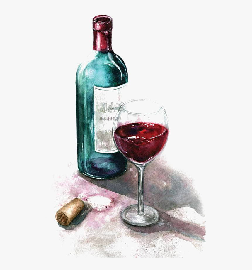 Of Watercolor Glass Painting Red Wine Clipart Watercolor Paintings Of Wine Bottles Hd Png Download Kindpng