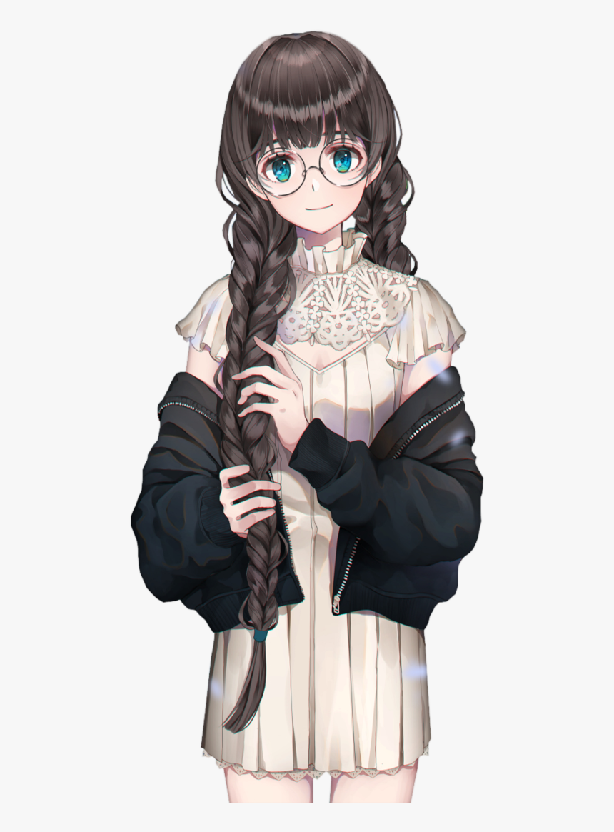 Anime Girl With Braids And Glasses, HD Png Download   kindpng