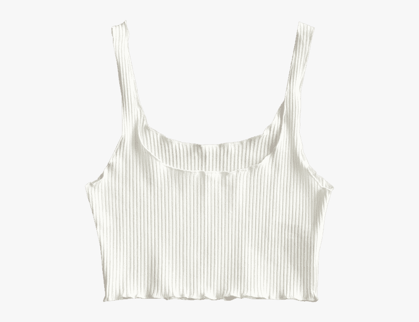 Ribbed Fitted Crop Tank Top White - Active Tank, HD Png Download, Free Download