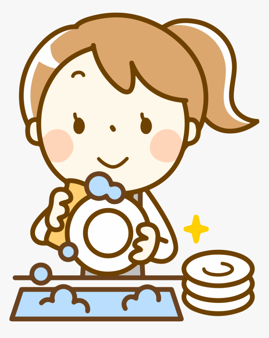 Washing Dishes - Clip Art Washing Dishes, HD Png Download, Free Download