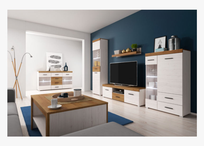 Living Room Furniture Falco Wall Unit Set Oak White Oak And