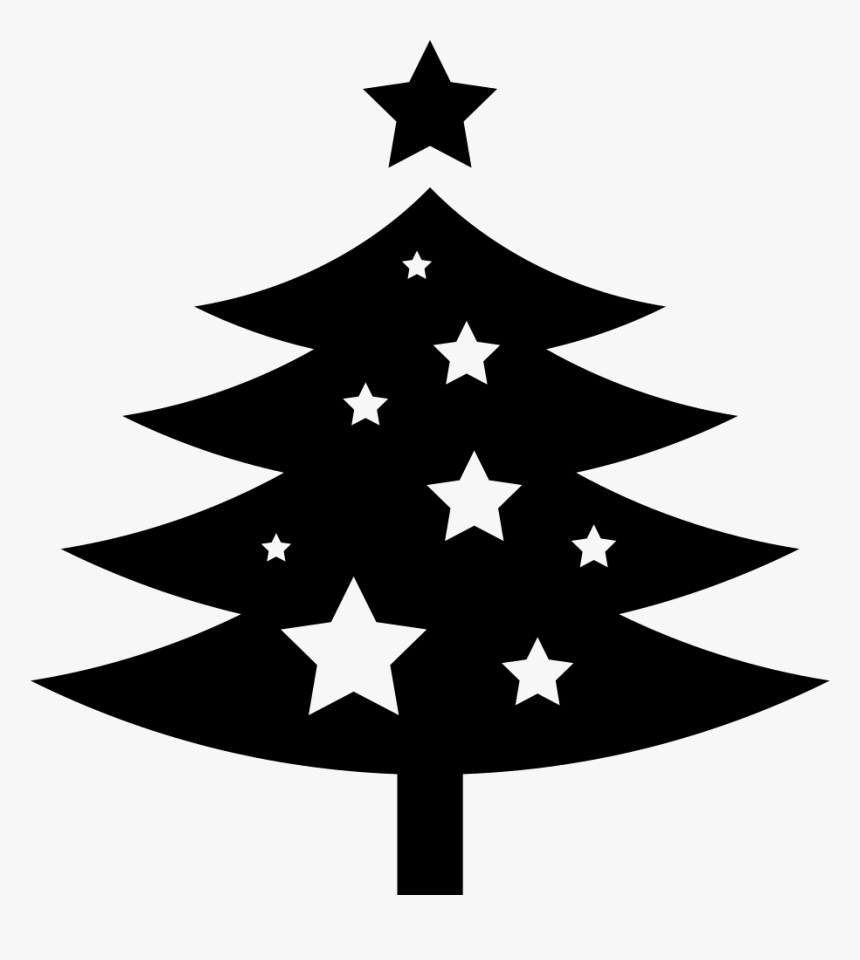 Christmas Tree Ornamented With Stars Comments - Svg Christmas Tree Free, HD Png Download, Free Download