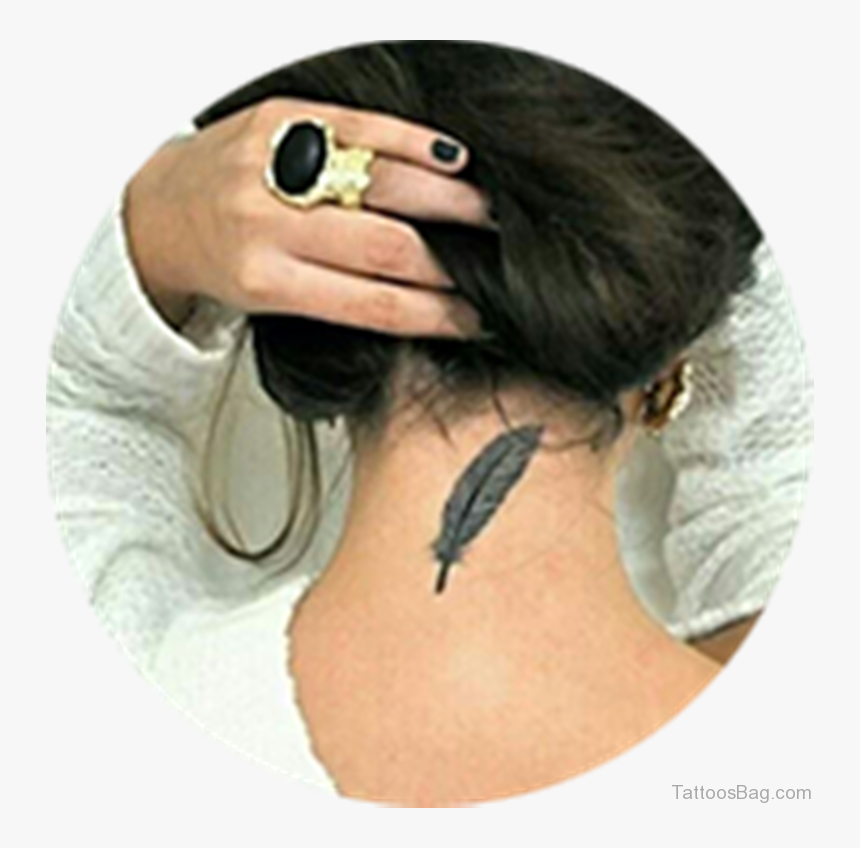 Sweet Feather Tattoo - Back Neck Tattoo Woman, HD Png Download, Free Download