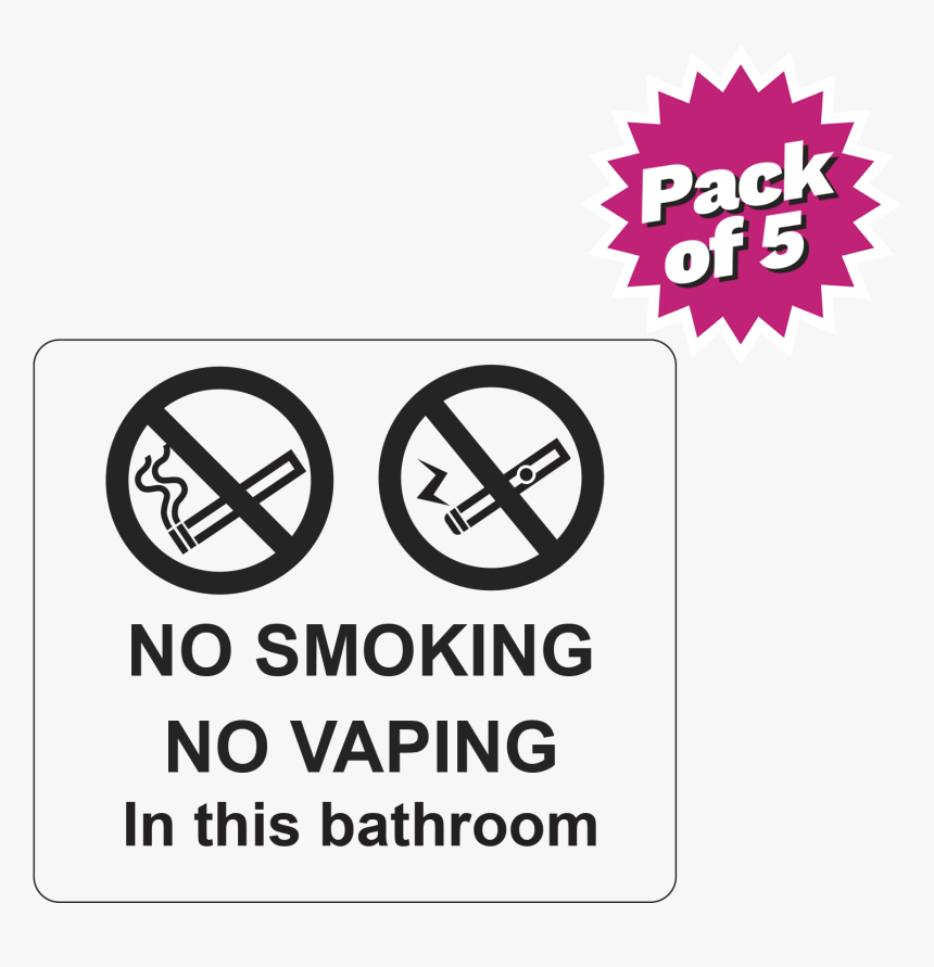 "Clear No Smoking Or Vaping Bathroom Sticker Pack""  - Keep Your Valuables Safe, HD Png Download, Free Download"