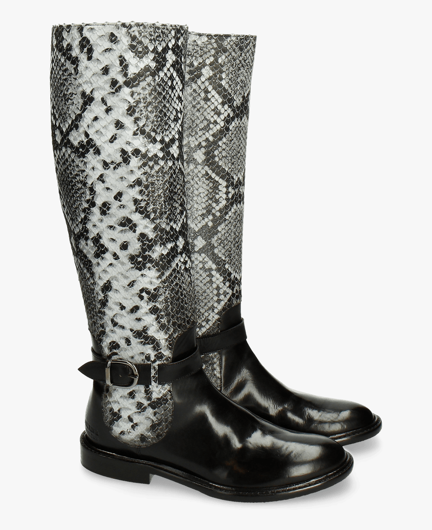 Boots Sally 58 Snake Black Grey Strap Black New Hrs - Riding Boot, HD Png Download, Free Download