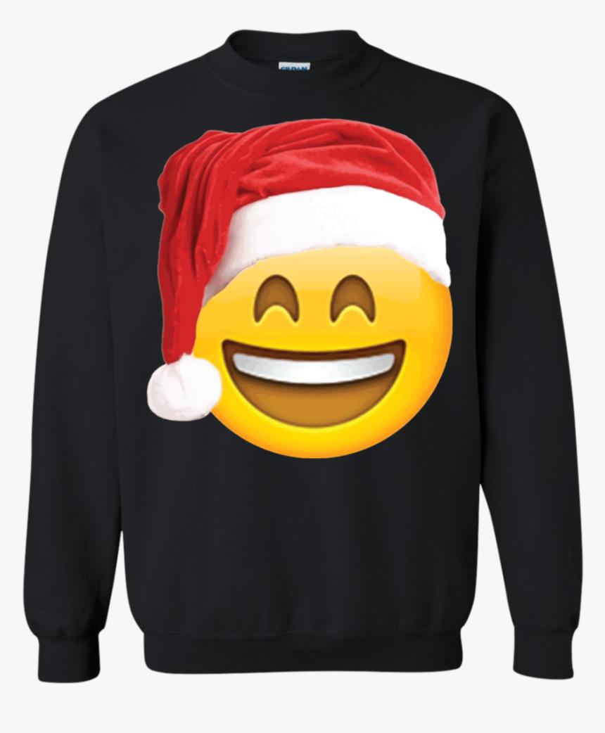 Emoji Christmas Shirt Smiley Face Santa Hat Family - Vampire Diaries Damon Hoodie, HD Png Download, Free Download