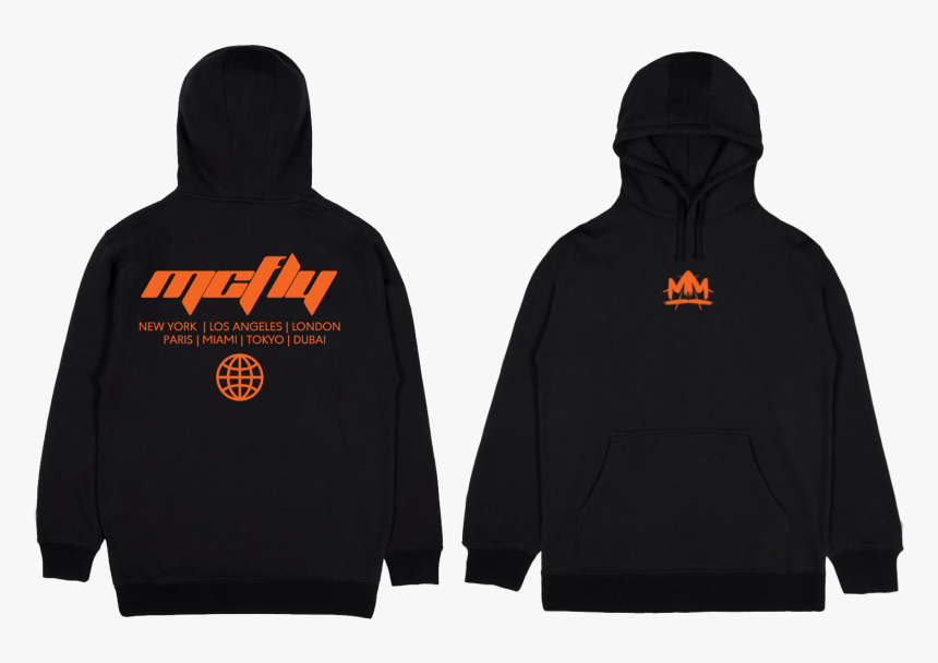 "Image Of ""mcfly Tour - Black Hoodie Mockup Front And Back Hd, HD Png Download, Free Download"