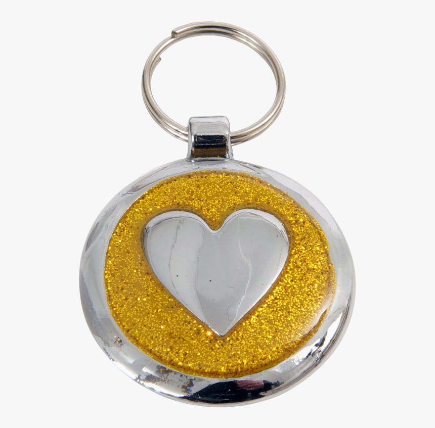 Luxury Designer Dog Tag Glitter Yellow Gold Heart Shimmer - Keychain, HD Png Download, Free Download