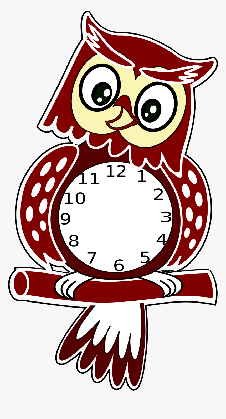 Transparent Clock Clipart - Clipart Owl With Clock, HD Png Download, Free Download