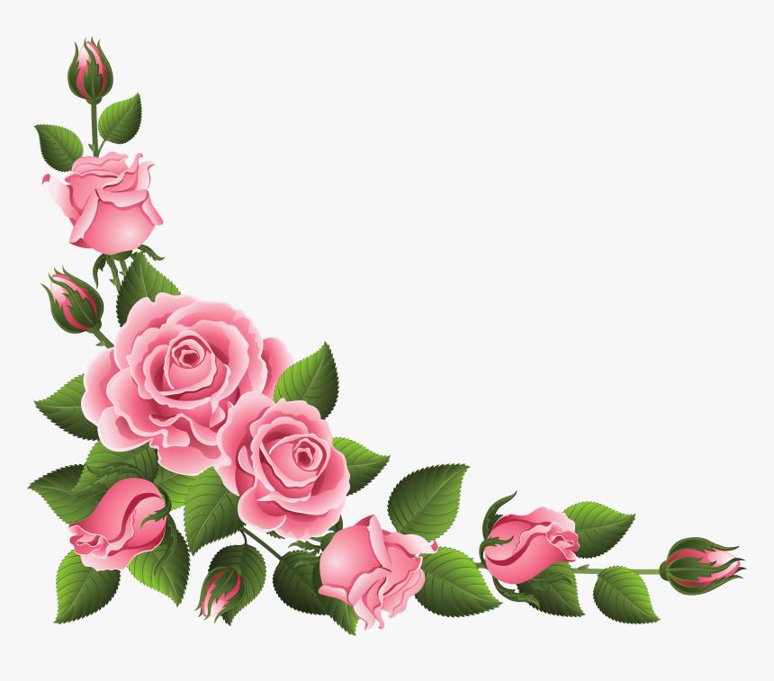 Rose Corner Border Png, Transparent Png - Rose Flower Border Clipart, Png Download, Free Download
