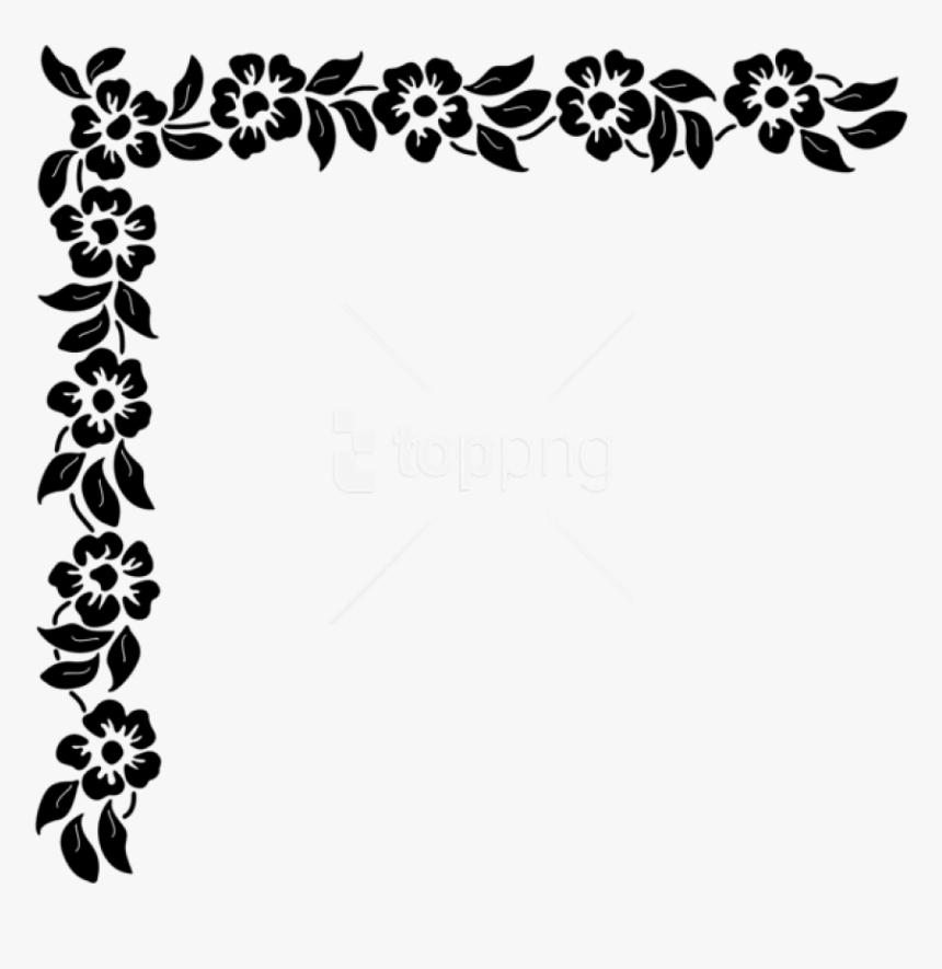 Floral Corner Png Black And White Corner Design Transparent Png Kindpng,Breast Cancer T Shirt Designs