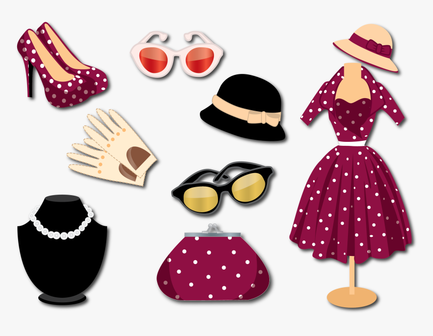 Style Fashion Woman With Vector Retro Clothing Clipart - Retro Accessories For Ladies, HD Png Download, Free Download