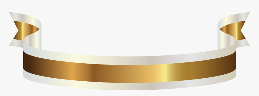 Gold And White Banner Png Clipart Picture - Gold Ribbon With Transparent Background, Png Download, Free Download