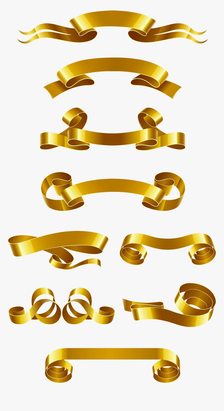 Web Gold Material Euclidean Vector Banner Ribbon Clipart - Golden Ribbon Vector Free Download, HD Png Download, Free Download