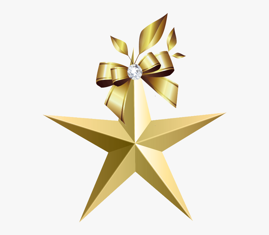 Mq Gold Bow Bows Ribbon Ribbons - Clipart Transparent Background Star, HD Png Download, Free Download