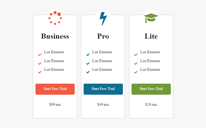 Pricing In 3 Columns, HD Png Download, Free Download