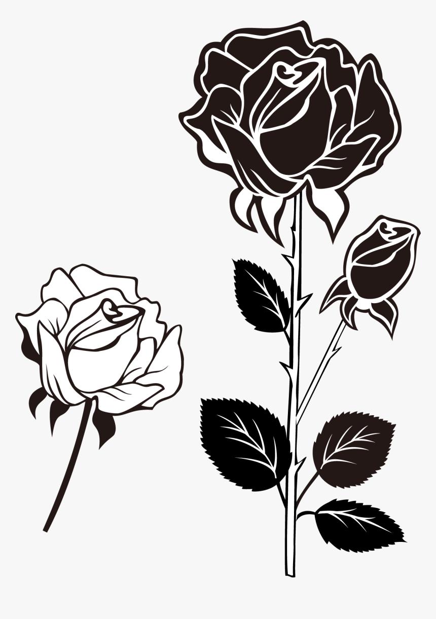 Clip Art Black And White Roses Bunga Mawar Vektor Hitam Putih