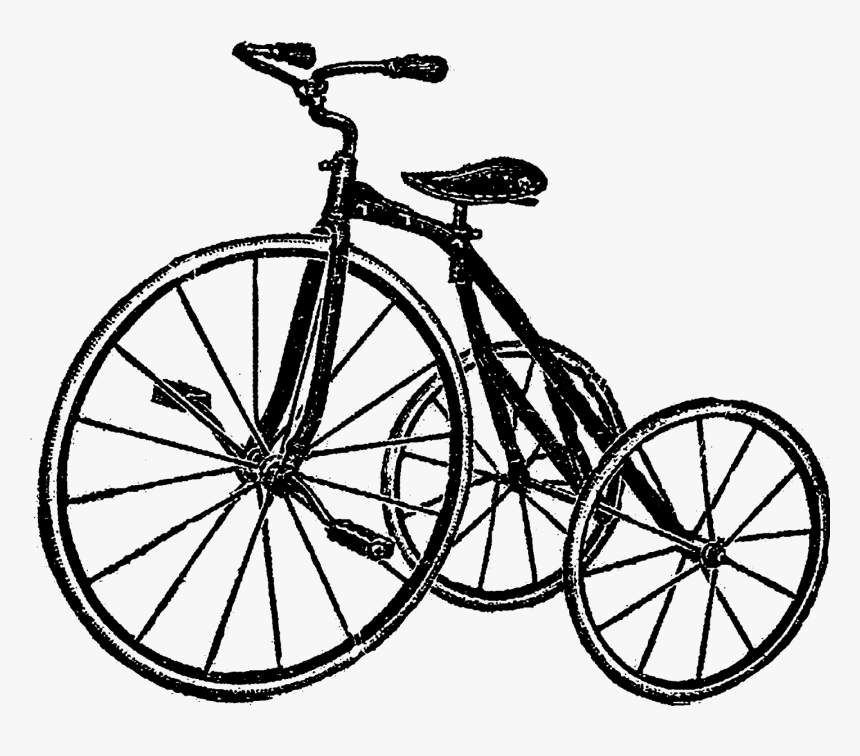 Digital Bike Tricycle Image Downloads - Bicycle With Flower Basket Coloring Page, HD Png Download, Free Download