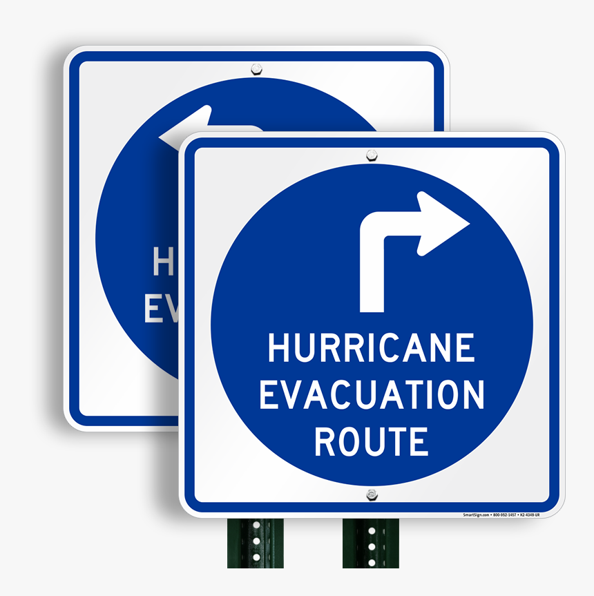 Hurricane Evacuation Route Upper Right Arrow Sign - Hurricane Evacuation Sign, HD Png Download, Free Download