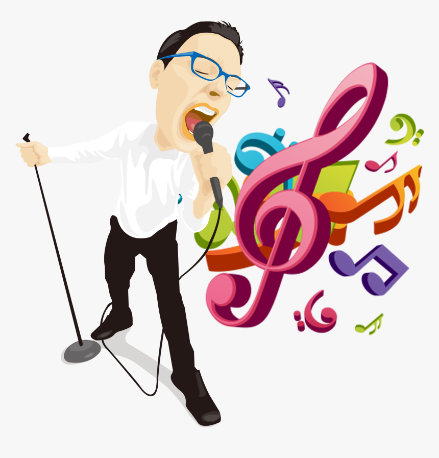 Musical Illustration Singing Man - Png Colours Musical Note, Transparent Png, Free Download