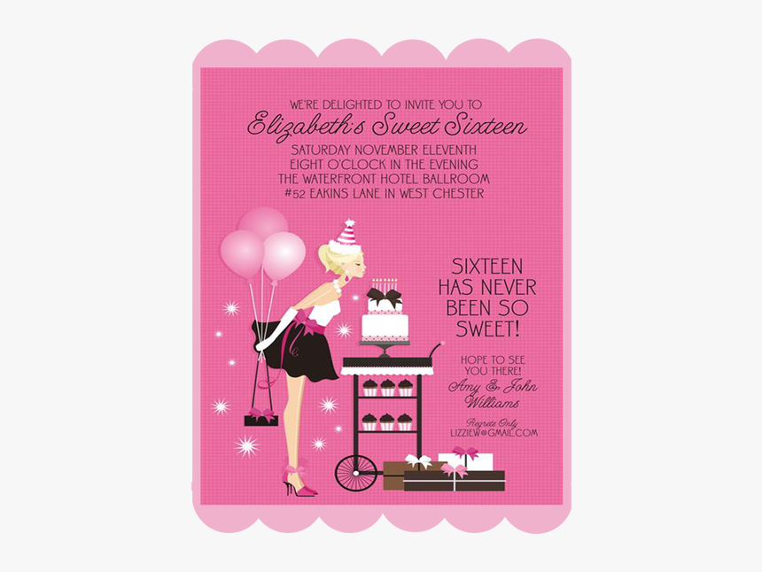 Invitation Cards For 16 Birthday Party Hd Png Download