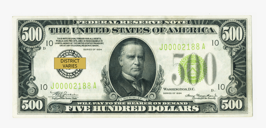 Clip Art Federal Reserve Note - 500 Dollar Note, HD Png Download, Free Download