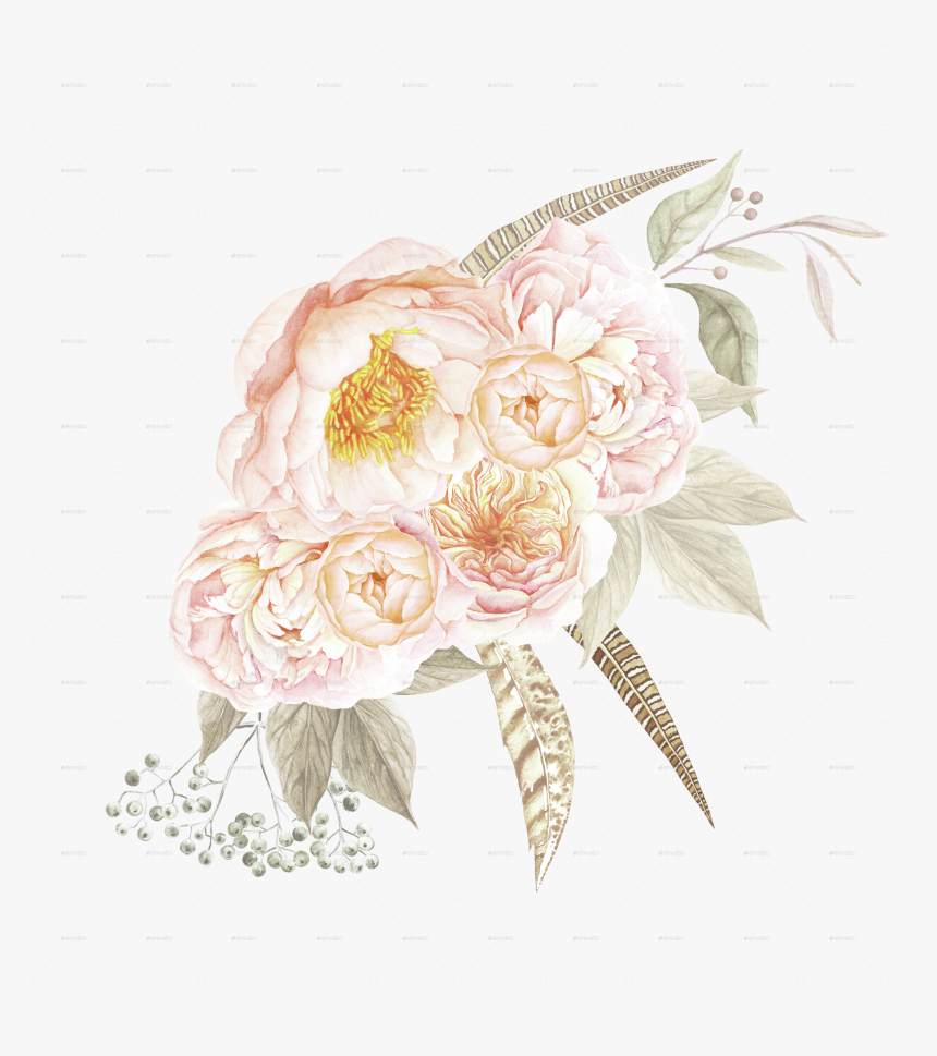 Wedding Invitation Flower Bouquet Photography Wreath - Garden Roses, HD Png Download, Free Download