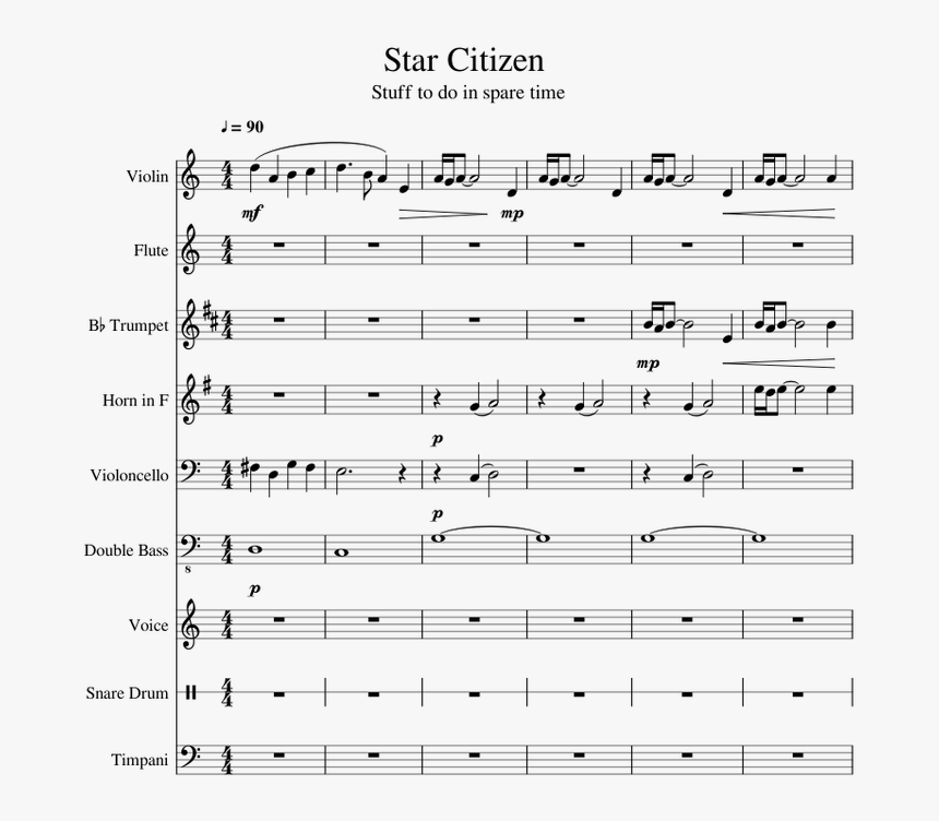 Transparent Star Citizen Png - Trombone Peppa Pig Theme Song Sheet Music, Png Download, Free Download