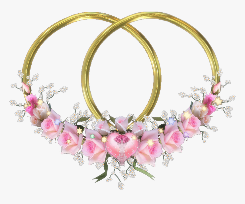 Frame Flora Double Hearts Gold Pink Roses Free Photo - Double Frame Flower Png, Transparent Png, Free Download