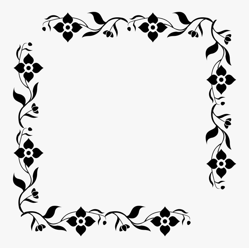 Floral Frame - Black Floral Frames Png, Transparent Png, Free Download