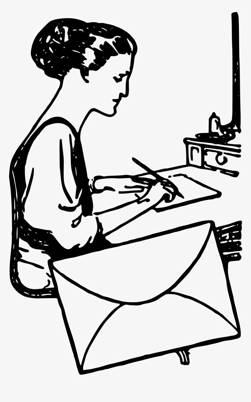Writing Woman Clip Art - Girl Writing A Letter Drawing, HD Png Download, Free Download