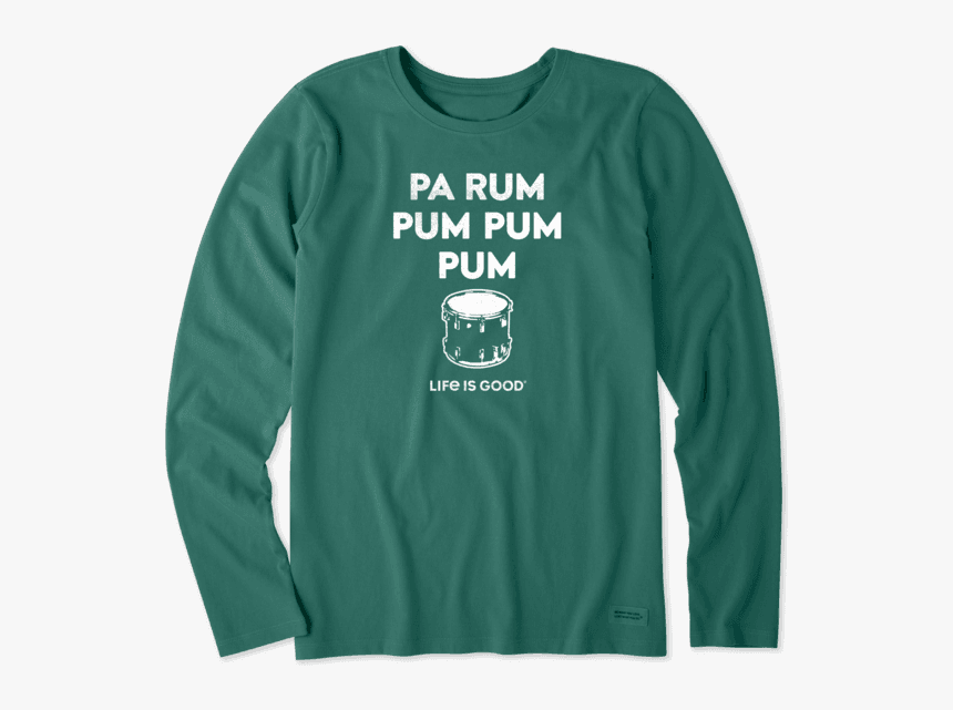 "Women""s Pa Rum Pum Pum Pum Long Sleeve Crusher Tee - Long-sleeved T-shirt, HD Png Download, Free Download"