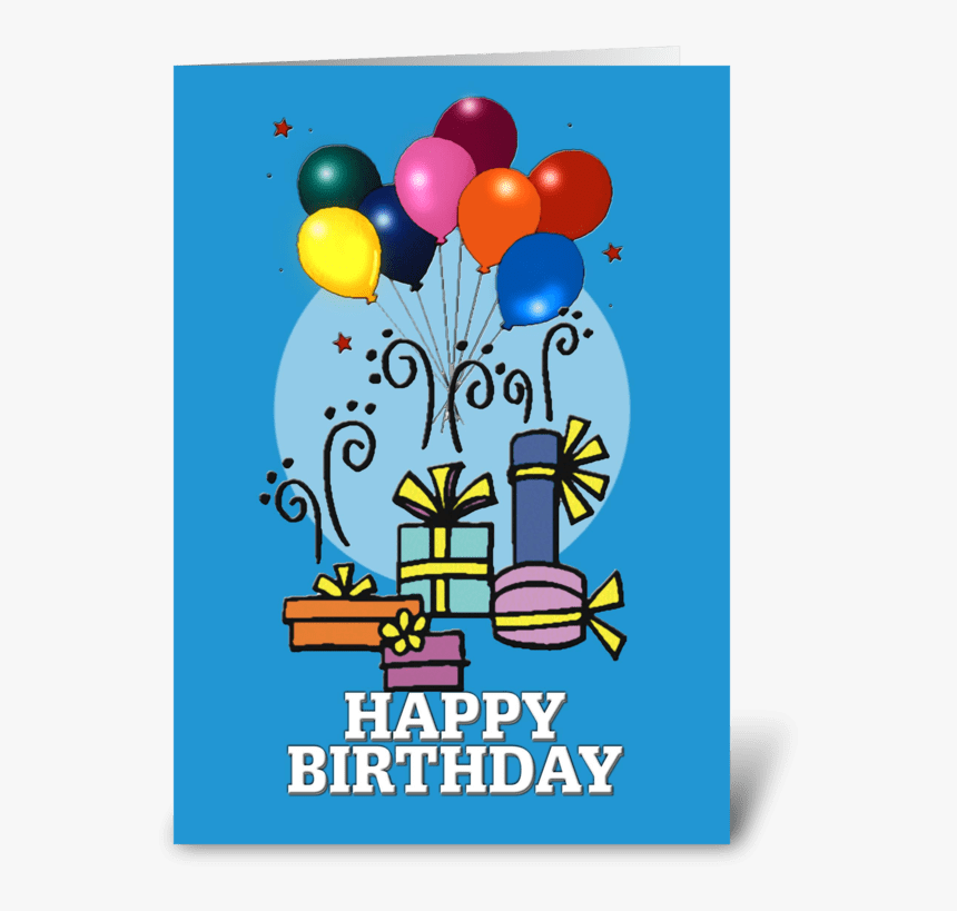 Balloons, Happy Birthday Card Greeting Card - Gift Clipart, HD Png Download, Free Download