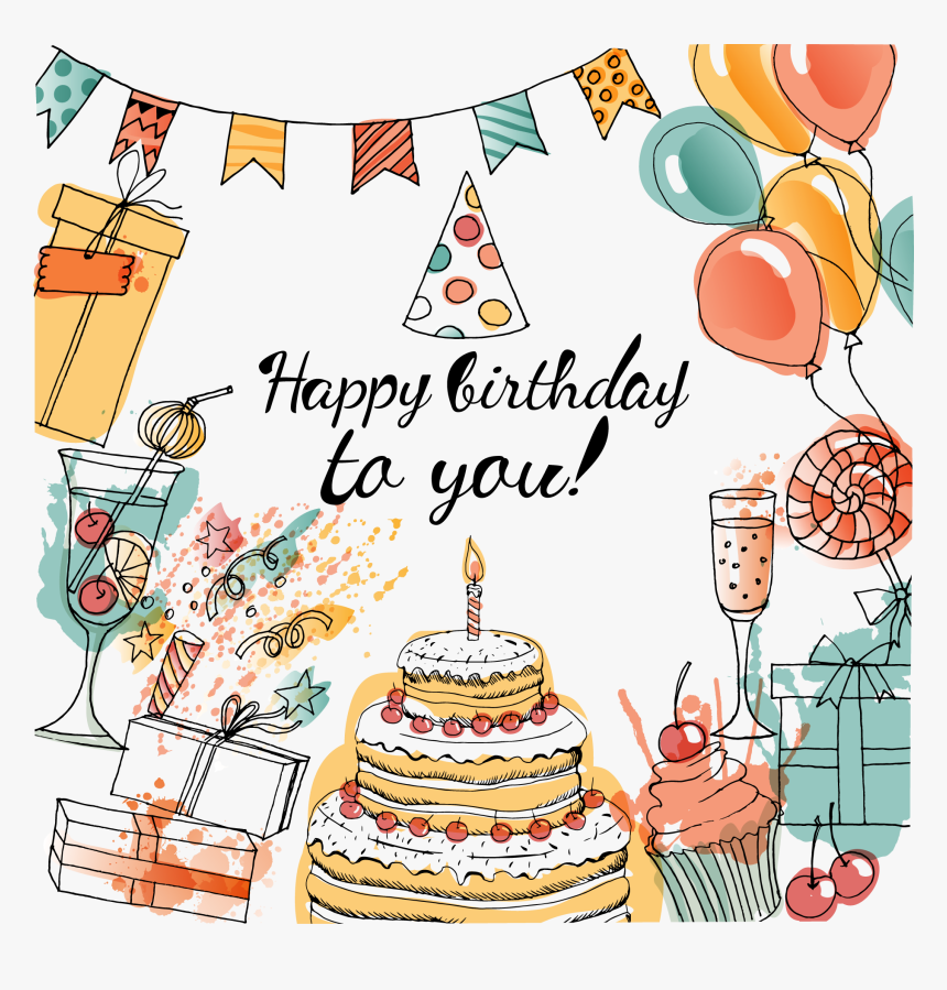 Birthday Cake Greeting Card Taobao Happy Birthday Cake Water Color Hd Png Download Kindpng